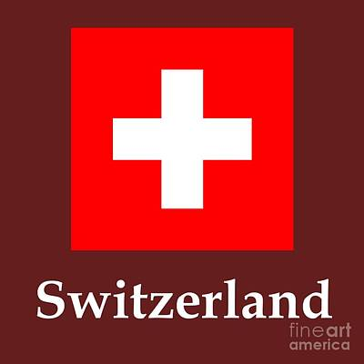 Switzerland Mixed Media - Switzerland Flag And Name by Frederick Holiday