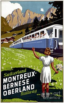 Switzerland Mixed Media - Switzerland Vintage Travel Poster Restored by Carsten Reisinger