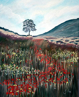 Northumberland Painting - Sycamore Gap. by John Cox