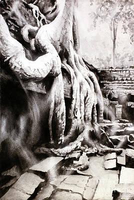 Buddhist Painting - Sycamore Tree Overgrowing Ruins- Cambodia by Ryan Fox