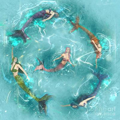 Mermaid Digital Art - Sychronized Swimming by Methune Hively