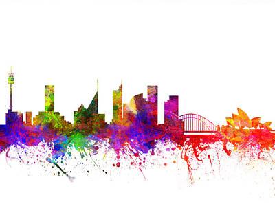 Australian Drawing - Sydney Australia Cityscape 02 by Aged Pixel