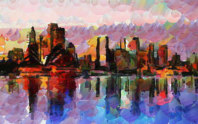 Sydney Skyline Painting - Sydney Here I Come by Sir Josef Social Critic - ART