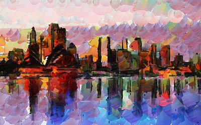 Sydney Skyline Painting - Sydney Here I Come by Sir Josef - Social Critic - ART