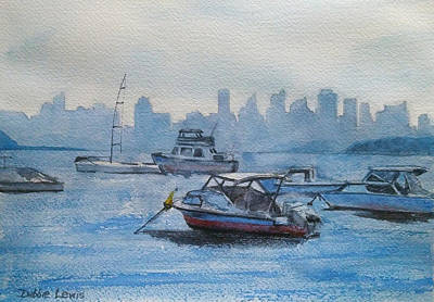Sydney Skyline Painting - Sydney In The Haze by Debbie Lewis