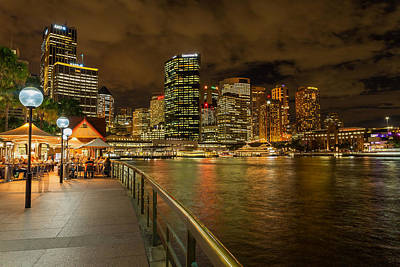 Sydney Nighttime Waterfront Print by Mountain Dreams
