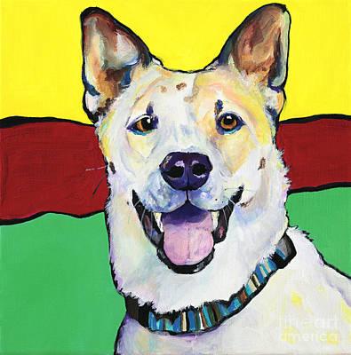 Acrylic Dog Painting - Sydney by Pat Saunders-White