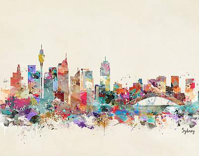 Sydney Skyline Digital Art - Sydney Skyline Australia by Bri B