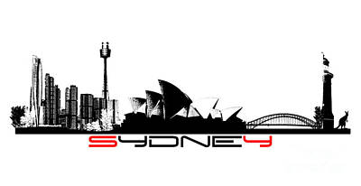 Sydney Skyline Digital Art - Sydney Skyline Black by Justyna JBJart