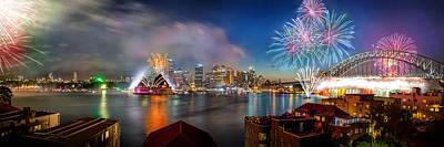Blue Fireworks Photograph - Sydney Sparkles by Az Jackson