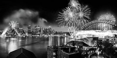 Blue Fireworks Photograph - Sydney Spectacular by Az Jackson