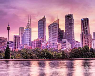 Sydney Tower Skyline At Sunset Print by Chris Smith