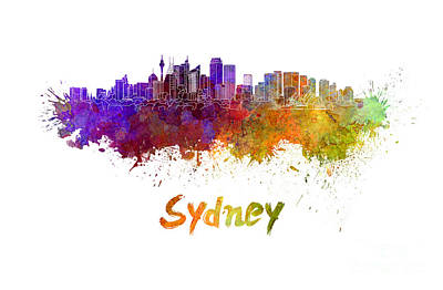 Sydney Skyline Painting - Sydney V2 Skyline In Watercolor by Pablo Romero