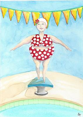 Diving Board Painting - Sylvia At The Pool by Stephanie Troxell