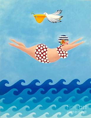 Swimming Painting - Sylvia Diving II by Stephanie Troxell