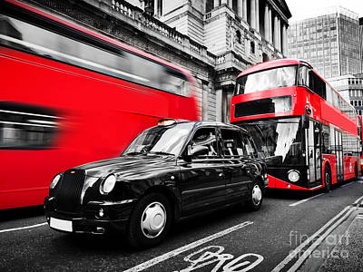 Red Photograph - Symbols Of London, The Uk. Red Buses, Black Taxi Cab by Michal Bednarek
