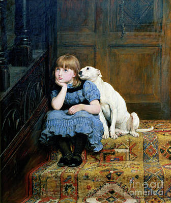 Little Girl Painting - Sympathy by Briton Riviere