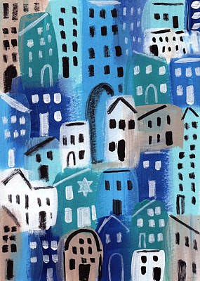 Neighborhood Painting - Synagogue- City Stories by Linda Woods