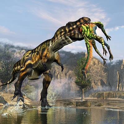 T-rex Appetizer Print by Kurt Miller