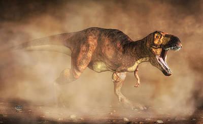 T-rex In A Dust Storm Print by Daniel Eskridge