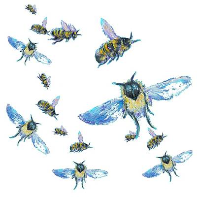T-shirt With Bees Design Print by Jan Matson