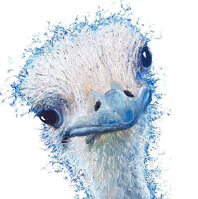 Emu Painting - T-shirt With Emu Design by Jan Matson