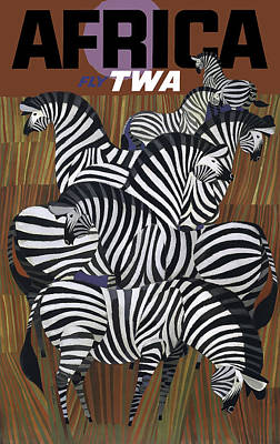 Zebra Digital Art - T W A Africa Vintage Travel C. 1958 by Daniel Hagerman