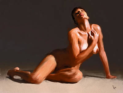 Nude Painting - Nude Women Painting Nude Girl Portrait Nude Girl Nude Painting Female Nudes Oil Abstract Women Nude  by Vya Artist