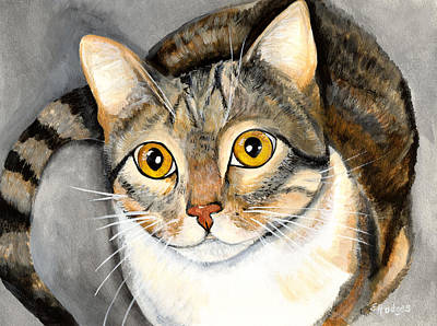 Gray Tabby Painting - Tabby Cat by Elaine Hodges