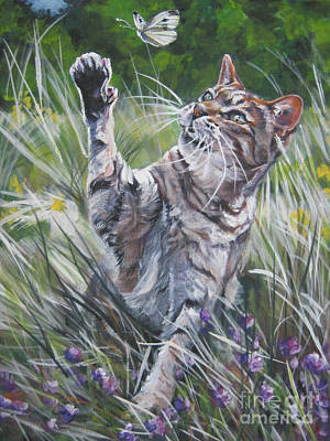 Striped Butterfly Painting - Tabby With Butterfly by Lee Ann Shepard