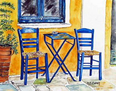 Wicker Chair Painting - Table For Two by Maria Barry
