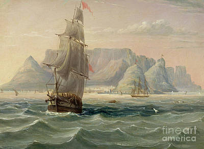 Pirate Ships Painting - Table Mountain, Cape Town, From The Sea by English School