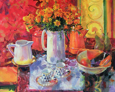Teapot Painting - Table Reflections by Peter Graham