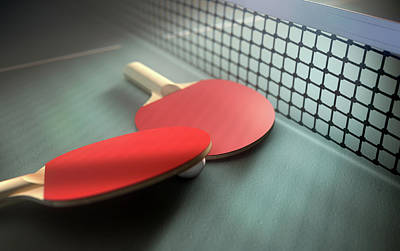 Ping Pong Digital Art - Table Tennis Table And Paddles by Allan Swart