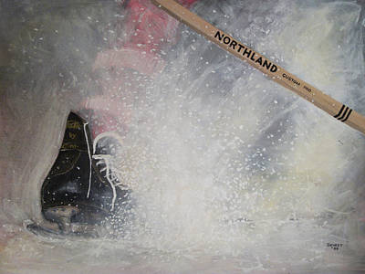 Snow Hockey Painting - Tacks by Ron  Genest