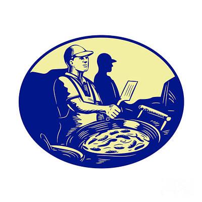 Fries Digital Art - Taco Chef Cook Man Side Oval Retro by Aloysius Patrimonio
