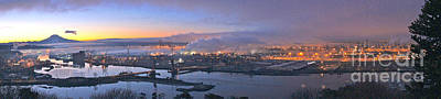 Washington Photograph - Tacoma Dawn Panorama by Sean Griffin
