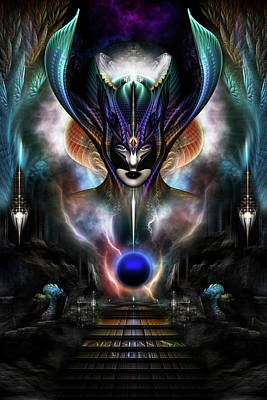 Taidushan Sai - Spirit Of Power Wd Fractal Portrait Print by Xzendor7