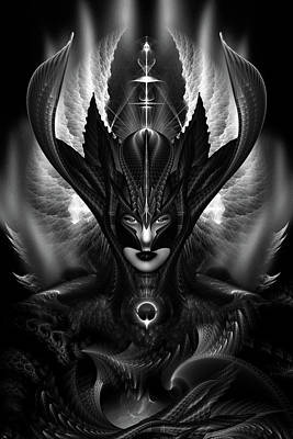 Taidushan Sai The Talons Of Time Blacksun Fractal Portrait Print by Xzendor7
