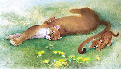 Lion Painting - Tail Tip Cougar by Tracy Herrmann