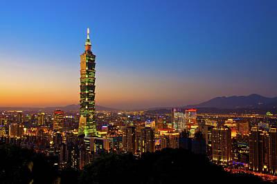 Taipei 101 At Dusk Print by Jung-Pang Wu
