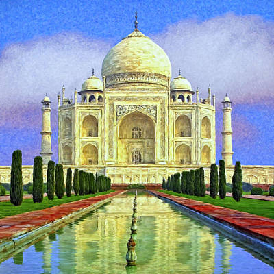 Wonders Of The World Painting - Taj Mahal Morning by Dominic Piperata