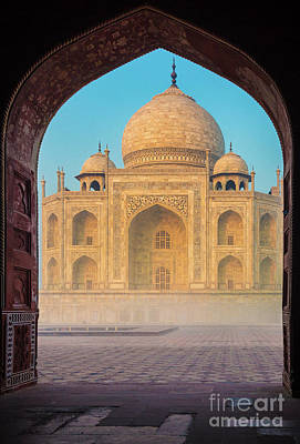 Arches Memorial Photograph - Taj Mahal Though An Arch by Inge Johnsson
