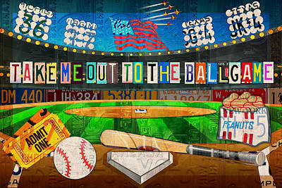 Take Me Out To The Ballgame Recycled Vintage License Plate Art Collage Print by Design Turnpike