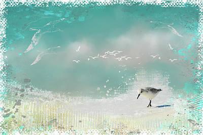 Sandpiper Digital Art - Taking A Stroll by Carla Parris