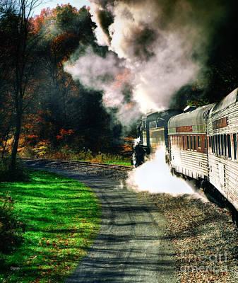 1916 Digital Art - Taking Autumn By Train  by Steven Digman