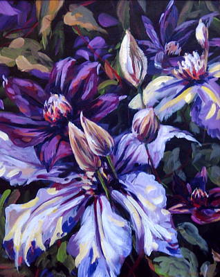 Clematis Painting - Talking Heads by Outre Art  Natalie Eisen
