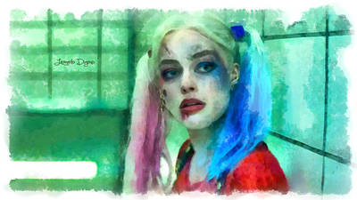 Baseball Digital Art - Talking To Harley Quinn  - Aquarell Style -  - Da by Leonardo Digenio