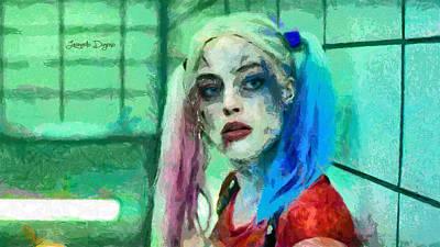 Baseball Digital Art - Talking To Harley Quinn  - Free Style -  - Da by Leonardo Digenio