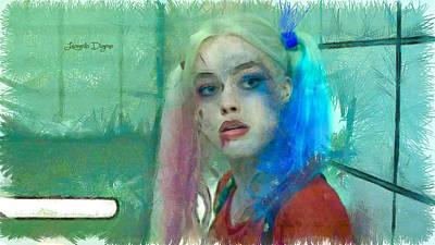 Batman Digital Art - Talking To Harley Quinn  - Pencil Style -  - Da by Leonardo Digenio